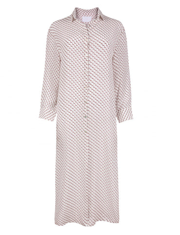 Marshmallow Arrow long sleeve shirt dress
