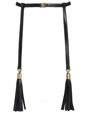 Nina leather suspender with tassels