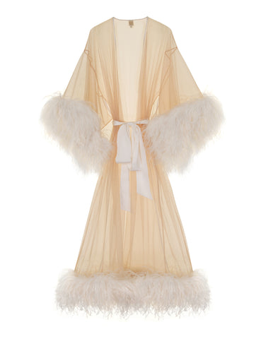 Serena Ivory feather and tulle kimono