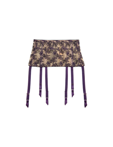 Serena Violet embroidered deep six strap suspender belt