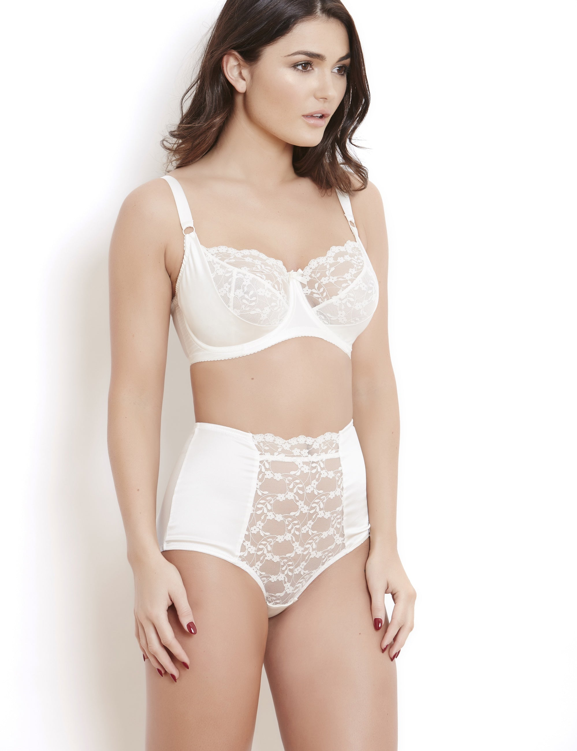 Sophia ivory lace high waist briefs