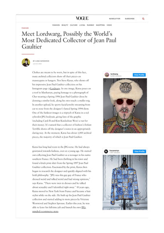 Vogue meet Steve Karas possibly the most dedicated collector of Vintage Jean Paul Gaultier