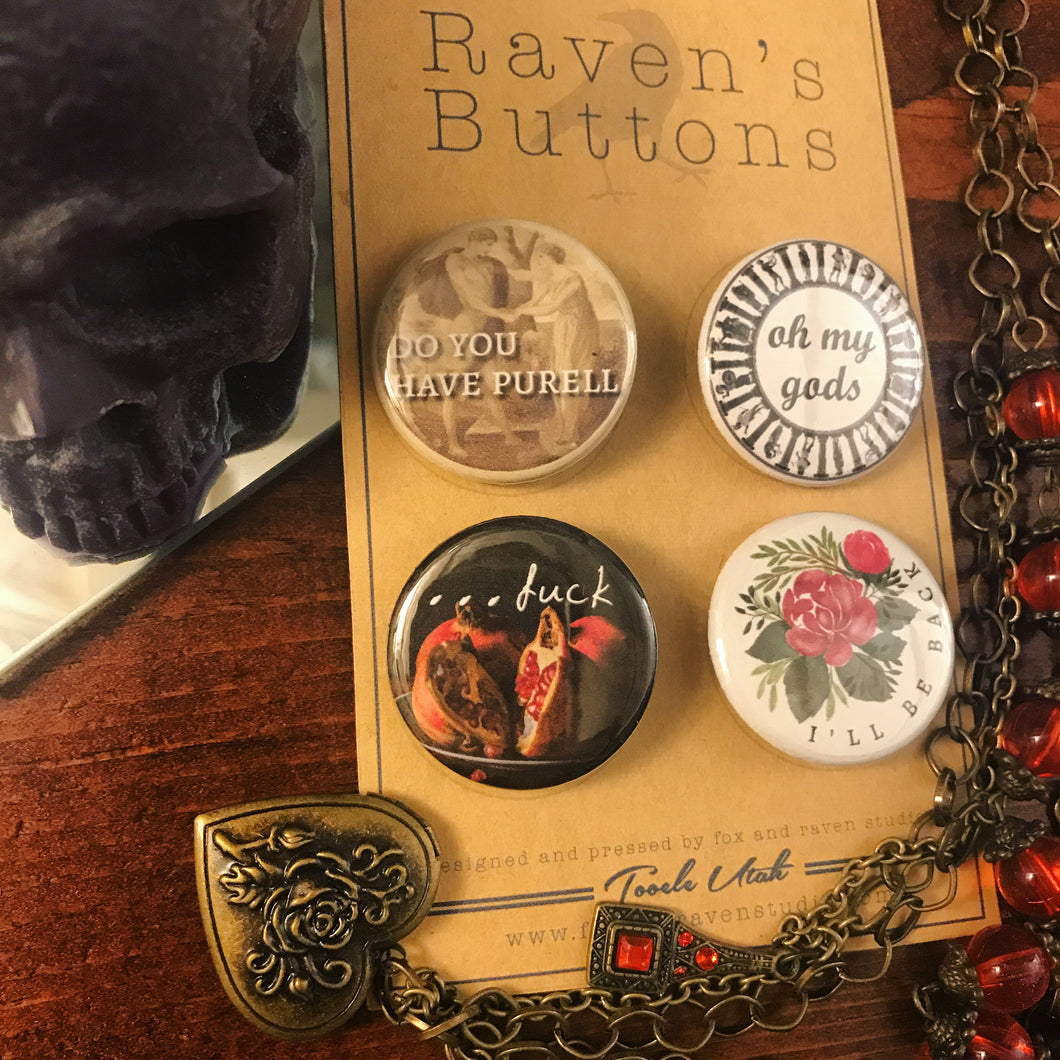 Raven's Buttons - 1.25 Inch Button Pack - Hades & Persephone