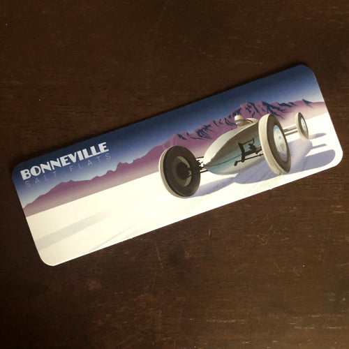 2x6 inch bookmark featuring a race car on the bonneville salt flats