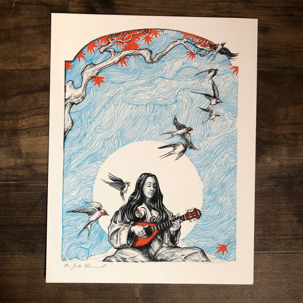 print of Bird's Song by M. Scott Hammond, featuring a woman playing a mandolin among birds