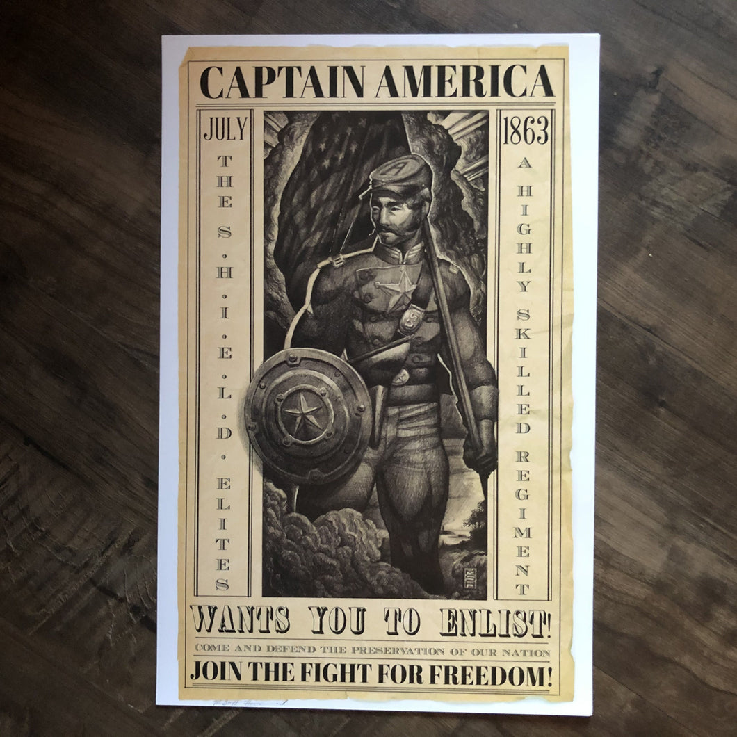 civil war captain america recruitment poster print