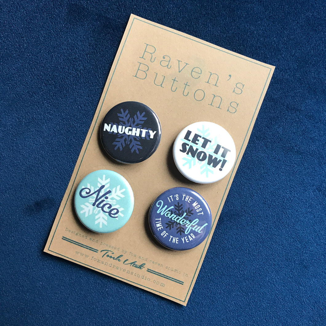 Raven's Buttons - 1.25 Inch Button Pack - Let It Snow