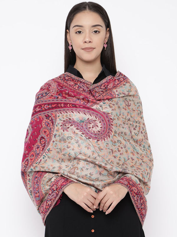 Women's Kaani Kashmiri Stole, Luxury Pashmina Wool Blend Shawls and Stoles (Size 28X80)