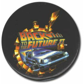 Flying DeLorean button from Back to the Future Part II
