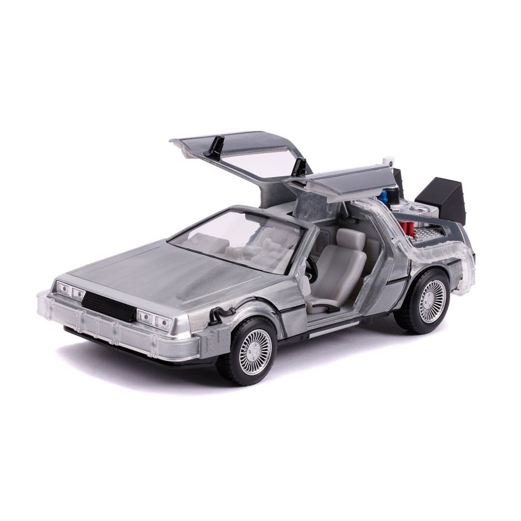 Travel back to the future with one of the most iconic vehicles in the Hollywood Rides lineup: the Time Machine as seen in Back to the Future Part II (1989). Featuring a die-cast metal body, rubber tires, opening doors, light-up feature and best of all you can fold the wheels inward and display the Time Machine in hover mode. This 1:24 scale vehicle is a must have in any collection!