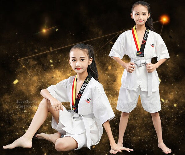 Children Taekwondo Dobok Robe Karate Uniform Kids Boy Girl Judo Mooto Wushu Sanda Training Workout Clothes Men Fitness Gym Pants