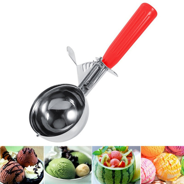 New Ice Cream Spoon Useful Stainless Steel Ice Cream Scoop Watermelon Spoon Cookies Dough Disher Spoon Kitchen Supplies