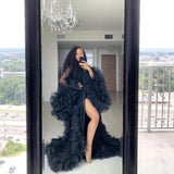 Chic See Thru Tulle Ruffles Black Long Kimono Tiered Ruched A-line Prom Gowns Puffy Sleeves African Cape Cloak