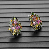Natural Brazil tourmaline clasp earring 925 sterling silver fine jewelry multi-color gemstone flower design luxury Wedding gift