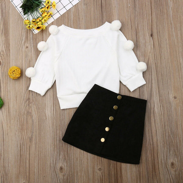 Autumn Winter Clothes Toddler Baby Girls Clothes Hairball Knit Tops+Button Mini Skirt Warm Outfits Sets Clothes 1-6Y