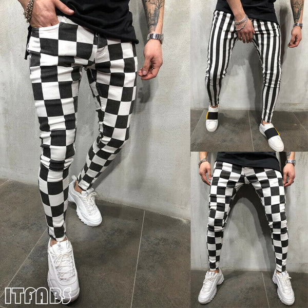 2020 Men's Slim Pants Tights Fitness Fashion Slim Comfortable Striped Plaid Black White Casual Pencil Pants Men Clothes