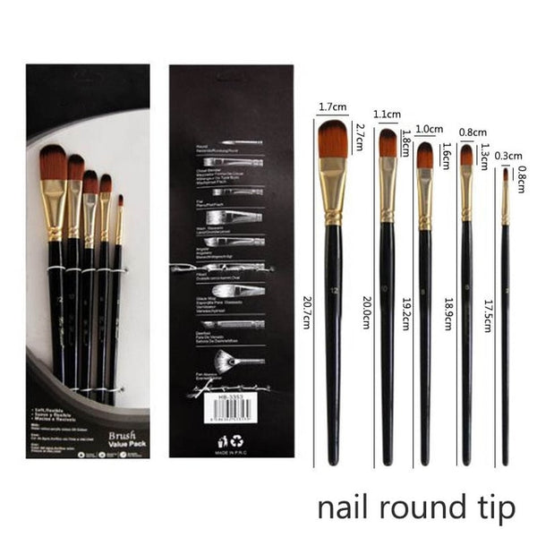 Artist Paint Brush Set 5Pcs High Quality Nylon Hair Wood Black Handle Watercolor Acrylic Oil Brush Painting Art Supplies