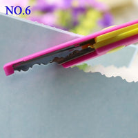 1 Pc Handmade Children DIY 6 Patterns Album Lace Scissors Card Photo Pattern Scissors Cartoons Lace Scissors