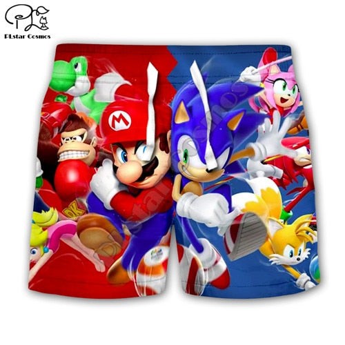 Super Sonic 3d Hoodies Children zipper coat Long Sleeve Pullover Cartoon Sweatshirt Tracksuit Hooded/pants/family t shirts