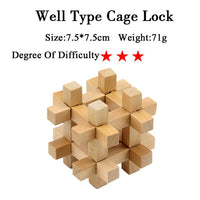 IQ Brain Teaser Kong Ming Lock Lu Ban Lock 3D Wooden Interlocking Burr Puzzles Game Toy For Adults Kids