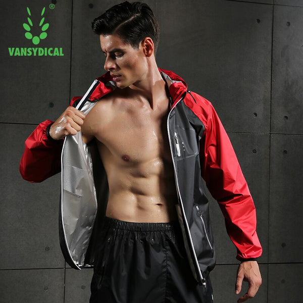 Vansydical Men's Sports Running Tops Hot Sweat Jackets Fitness Bodybuilding Clothes Zipper Training Hoodies