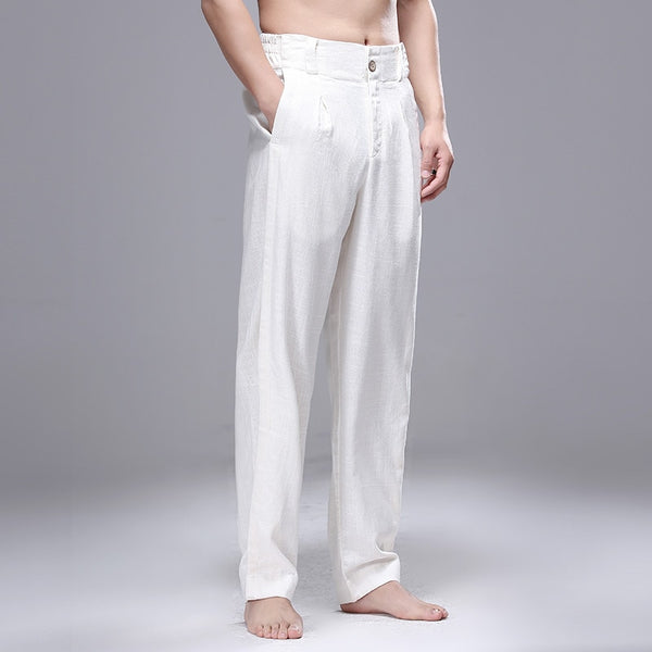 SHANBAO original brand men's linen casual pants 2020 spring and summer new style straight loose loose pants white gray black