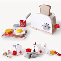 Wooden Kitchen Pretend Play Toy Simulation Wooden Coffee Machine Toaster Machine Food Mixer Baby Early Learning Educational Toys