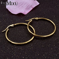 CHIMDOU Gold color Stainless Steel Earrings 2018 Women Small or Big Hoop Earrings Party Rock Gift, Two colors