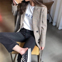 Office Ladies Notched Collar Plaid Women Blazer Double Breasted Autumn Jacket 2020 Casual Pockets Female Suits Coat