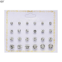 12 pairs/set Crystal Simulated Pearl Earrings Set Women Jewelry Accessories Piercing Ball Stud Earring kit Bijouteria brincos