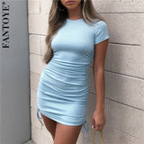 FANTOYE Ruched Drawstring Bodycon Dress Women Sexy Short Sleeve Club Party Dress Ladies Solid Skinny Elegant Dress Summer 2020