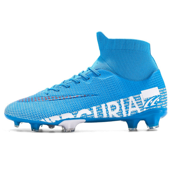 ZHENZU Outdoor Men Boys Soccer Shoes TF/FG Football Boots High Ankle Kids Cleats Training Sport Sneakers Size 35-44