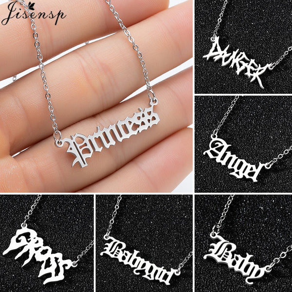 Hip Hop Art Letter Stainless Steel Necklace Gothic Punk Gross babygirl angel Baby princess prince Pendant Harajuku Necklace Gift