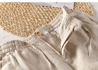 100%Linen Men Casual Pants Solid White Breathable Fashion Comfortable Full Length Mens Pants Y1902