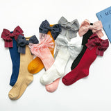 Fashion Children Socks With Bows Baby Girls Knee High Sock Cotton Soft Toddlers Long Socks For Kids Princess Sock
