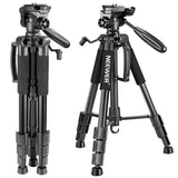 Neewer Camera Tripod Portable 56 inches/142cm Aluminum 3-Way Swivel Pan Head+Carrying Bag for Canon Nikon Sony DSLR Camera