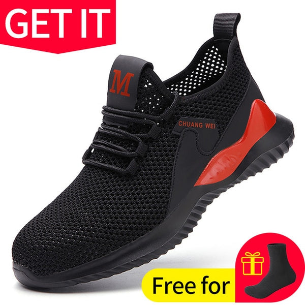 Work Safety Shoes Anti-Smashing Steel Toe Puncture Proof Construction Lightweight Breathable Sneakers Boots Men Women Air Light