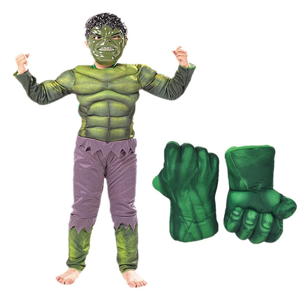 Anime Cosplay Superhero Children Muscle Suit Hulk Costume with Gloves Clothes Children's Day Gifts Halloween Christmas New Year
