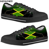 INSTANTARTS Men's Low Top Vulcanize Shoes Jamaica Flag 3D Printing Street Style Man's Canvas Shoes Adult Lace Up Casual Sneakers