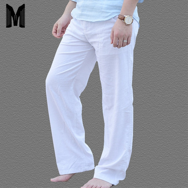 Men's Summer Casual Pants Natural Cotton Linen Trousers Man White Lightweight Elastic Waist Straight Loose Pants Y1693