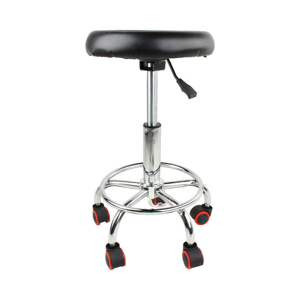 Height Adjustable 32cm Salon Rolling Swivel Stool Tattoo Massage Spa Chair Black Bar Furniture