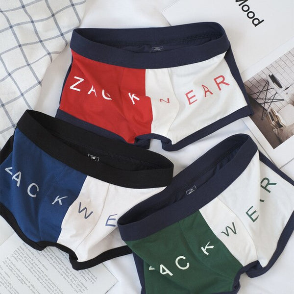 3PCS Mens Underwear Cotton Two-color Comfortable Men Panties Breathable Personality Fashion Boys Sports Boxers Shorts Underpants