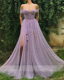 Handmade Heavy Pearls Sweetheart A-line Lilac Prom Dresses 2020 High Slit Women Formal Evening Gowns robes de soirée