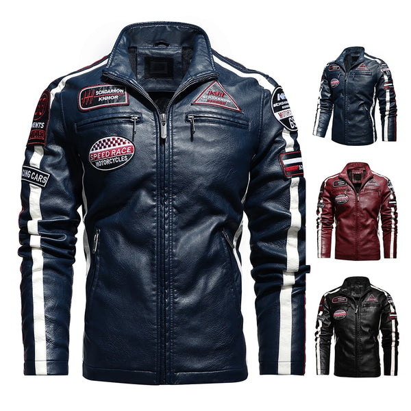 Aliksada Men Autumn Winter New Fashion Motor Biker Leather Jackets Coat Men Vintage Style Patchwork PU Faux Leather Jackets Men