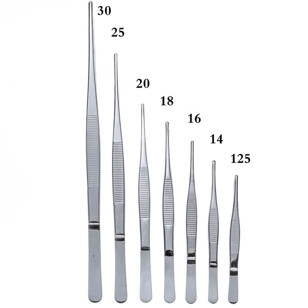 Stainless Steel 430 Anti-iodine Medical Tweezers Long Straight Forceps 12.5cm-30cm Straight Head Elbow Thicken Medical Tools