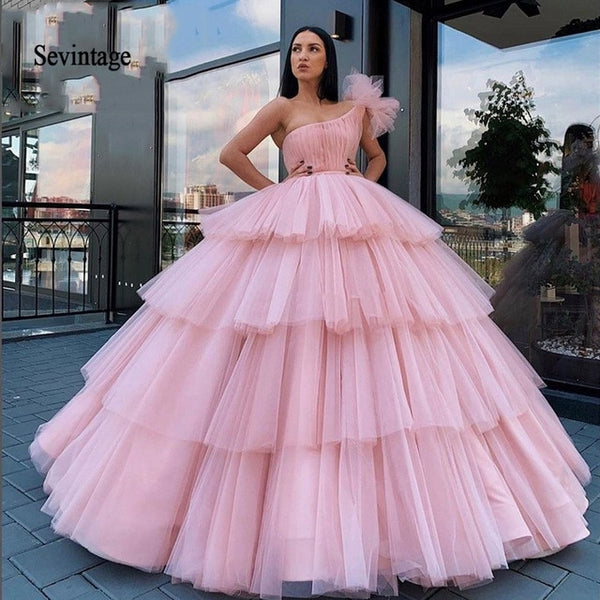 Sevintage Pink One Shoulder Quinceanera Dress Dubai Ball Gown Tiered Pleats Long Formal Prom Gowns Saudi Arabic Sweet 16 Dresses