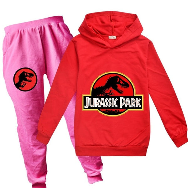 Toddler Boys Clothing Set Spring Autumn Fashion Hoodies Tracksuit Jurassic Park Hooded T-Shirt Suit Children Kid Girl Sweatshirt