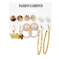 FNIO Women's Earrings Set Pearl Earrings For Women Bohemian Fashion Jewelry 2020 Geometric Crystal Heart Stud Earrings