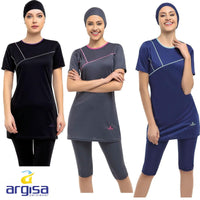 Argisa 7822 Half Sleeve Embroideried Semi Burkini Muslim Swimwear 38-60 Plus Size Hijab Islamic Swimsuit Fashion Turkey Women Cover