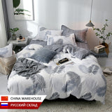 Nordic Bedding Set Leaf Printed Bed Linen Sheet Plaid Duvet Cover 240x220 Single Double Queen King Quilt Covers Sets Bedclothes
